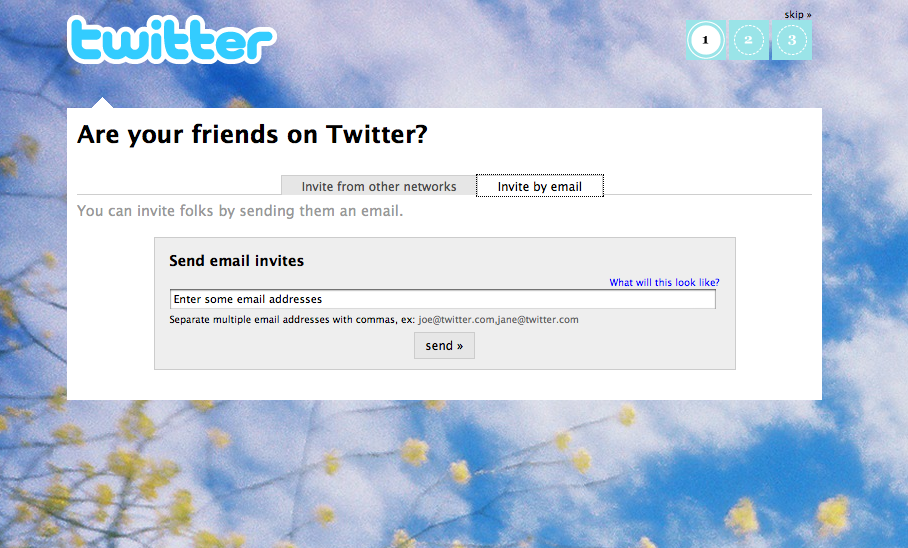 Invite friends by email on Twitter.com