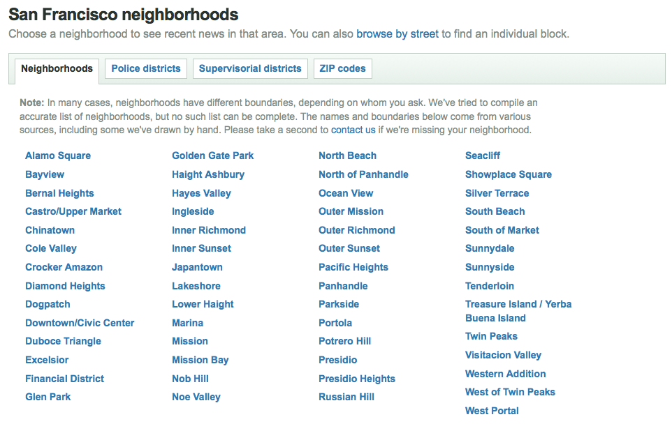 Neighborhood selection screen