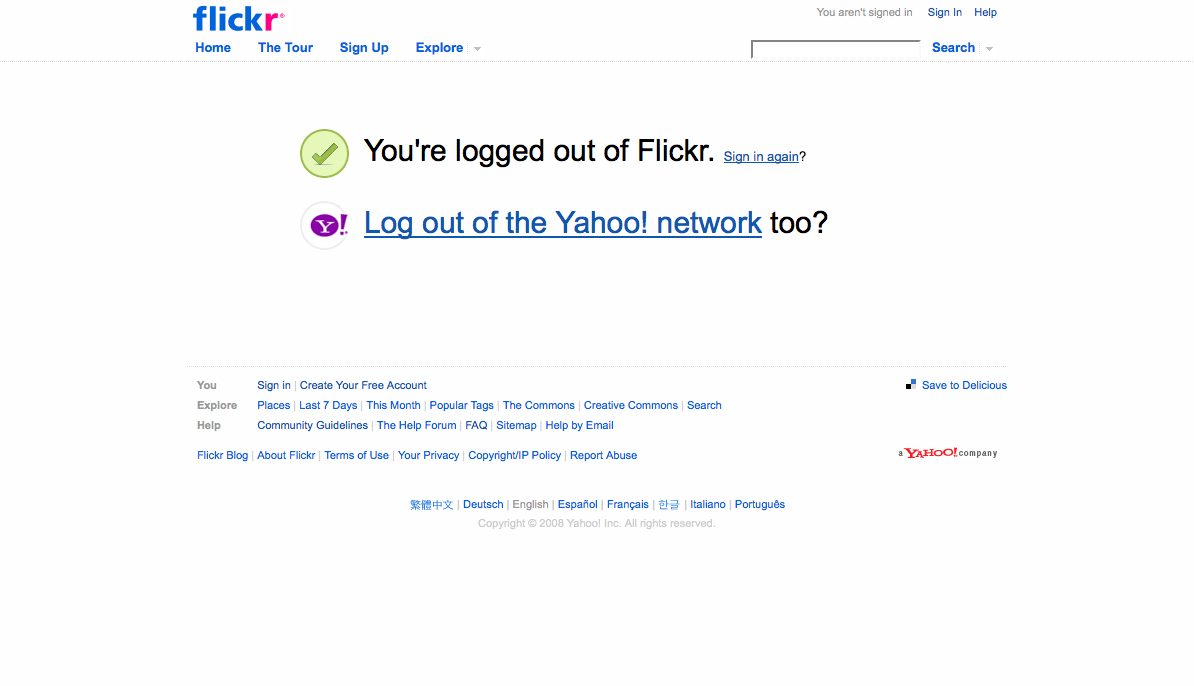 flickr.com sign out screen