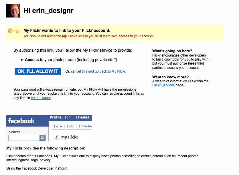 Screen on Flickr's side giving the user the ability to allow the accounts to link together