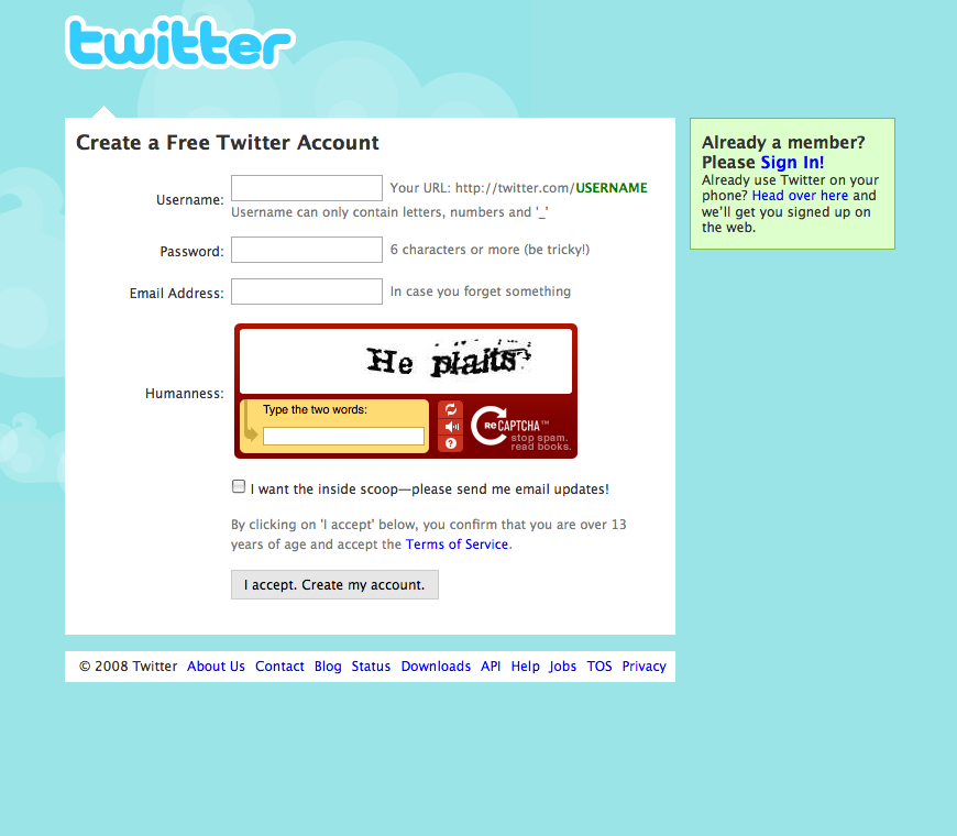 Twitter Sign up screen