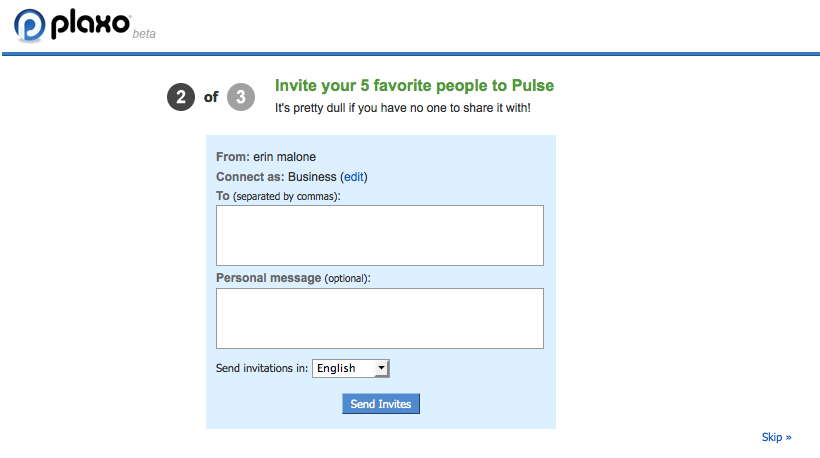 Invite friends to Pulse on Plaxo.com